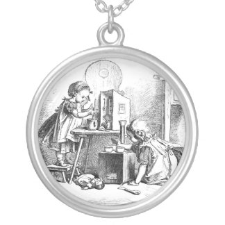 Little girls playing house etching round pendant necklace