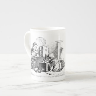 Little girls playing house etching tea cup