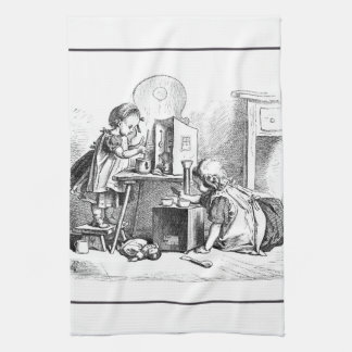 Little girls playing house etching towel