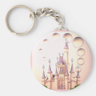 Little Girl's Princess Castle Birthday Invitations Basic Round Button Keychain