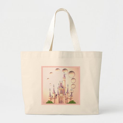 Little Girl's Princess Castle Birthday Invitations Large Tote Bag