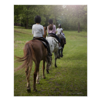 Little girls riding horses poster