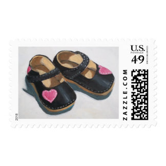 LITTLE GIRL'S SHOES WITH HEART POSTAGE STAMP