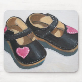 LITTLE GIRL'S SHOES WITH HEARTS, Original Art Mouse Pad