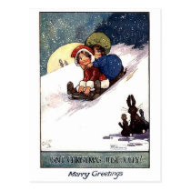little girls sledging on snow, vintage Christmas Postcard