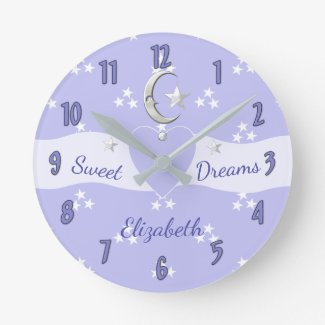 Little Girl's Stars & Moon Purple Clock