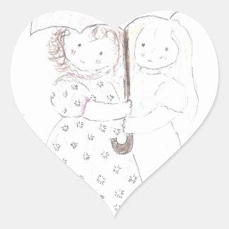 Little Girls Under Umbrella Heart Sticker