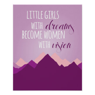 Little Girls with Dreams Poster - Purple