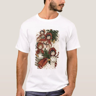 Little Girls with Holly and the Christmas Tree T-Shirt