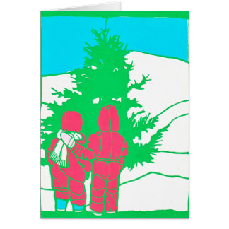 Little girls with tree greeting card
