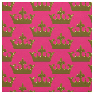 Little Gold Crown, Hot Pink-Fabric Fabric