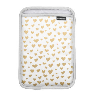Little Gold Hearts on Snow White Background iPad Mini Sleeves