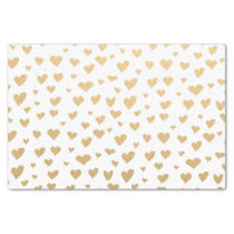 Little Gold Hearts on Snow White Background Tissue Paper