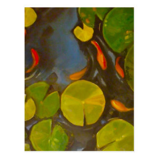 Little Goldfish Koi in Pond with Lily Pads Postcard