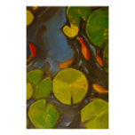 Little Goldfish Koi in Pond with Lily Pads Poster