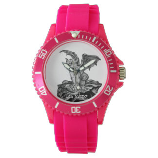 Little Golem Gargoyle, Black and white design Wrist Watch