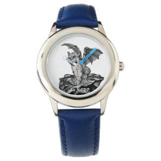 Little Golem Gargoyle, Black and white design Wristwatch