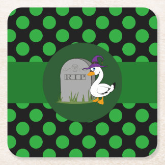 Little Goose Witch with Grave Stone & Green Dots Square Paper Coaster