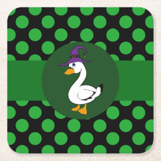 Little Goose Witch with Green Dots Square Paper Coaster