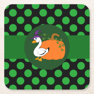 Little Goose Witch with Pumpkin & Green Dots Square Paper Coaster