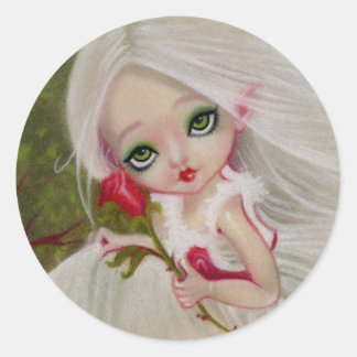 Little Gothic Beauty Red Rose Greeting STICKER