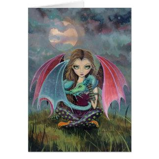 Little Gothic Fairy and Dragon Fantasy Art Card