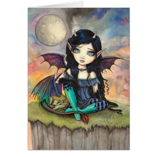 Little Gothic Fairy and Dragon Fantasy Art Card