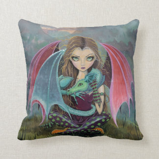Little Gothic Fairy and Dragon Fantasy Art Pillow