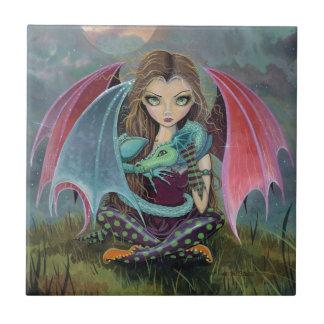 Little Gothic Fairy and Dragon Fantasy Art Tile