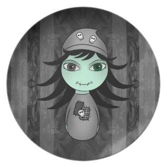 Little gothic Frankenstein chibi girl plate