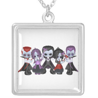 Little Gothic Gang Square Pendant Necklace