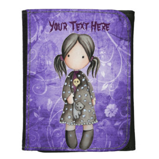 Little Gothic Girl with Skull Faux Leather Wallet
