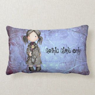 Little Gothic Girl with Skull Lumbar Throw Pillow