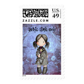 Little Gothic Girl with Skull Postage Stamp