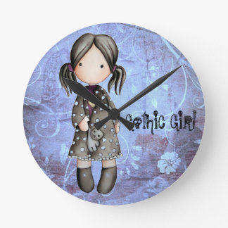 Little Gothic Girl with Skull Wall Clock