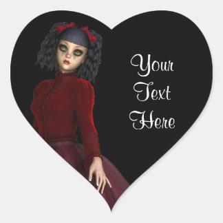 Little Gothy Girl Heart Sticker