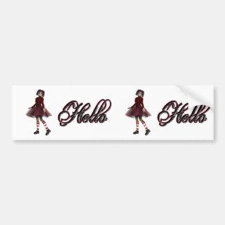 Little Gothy Girl Hello Bumper Sticker
