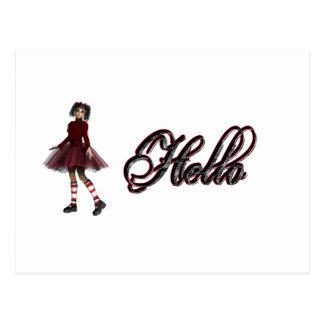 Little Gothy Girl Hello Postcard