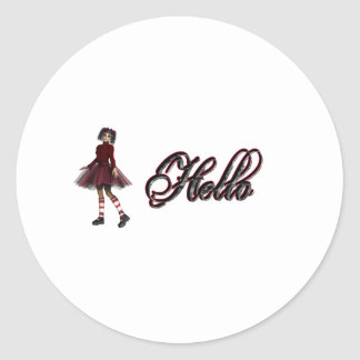 Little Gothy Girl Hello Round Stickers
