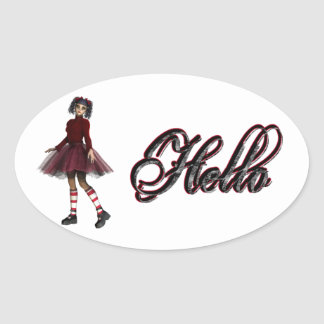 Little Gothy Girl Hello Sticker