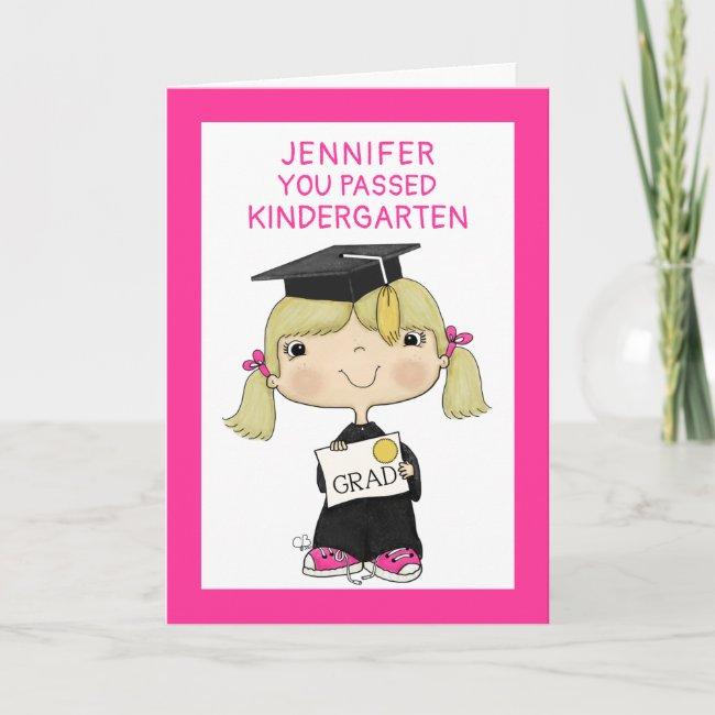 Little Graduate Girl Blond Hair Card