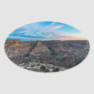Little Grand Canyon Sunset - Wedge Overlook - Utah Oval Sticker