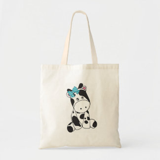 LITTLE GRAY AND WHITE COW WITH TURQUOISE BOW TOTE BAG
