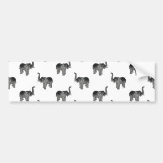 Little Gray Elephant Pattern Car Bumper Sticker