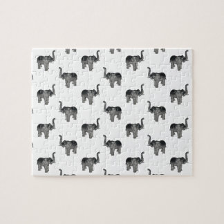 Little Gray Elephant Pattern Jigsaw Puzzles