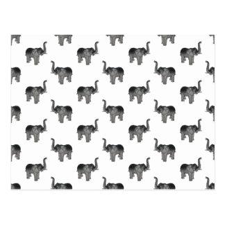 Little Gray Elephant Pattern Postcard