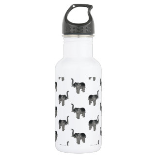 Little Gray Elephant Pattern Stainless Steel Water Bottle