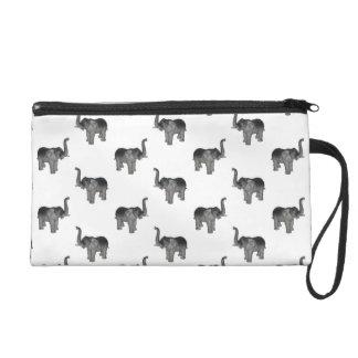 Little Gray Elephant Pattern Wristlet