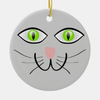 Little Gray Kitten Cat Face Ceramic Ornament