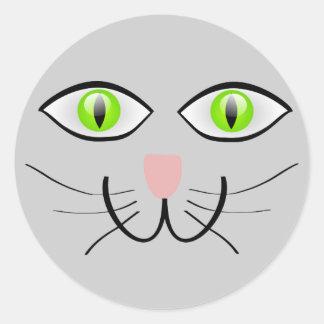 Little Gray Kitten Cat Face Classic Round Sticker